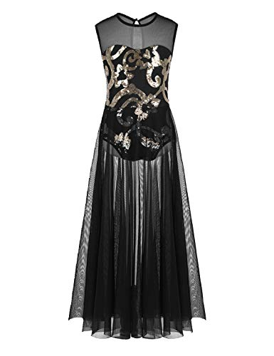 TiaoBug Girls Lyrical Dance Dress Sequin Side Split Ballet Leotard Sheer Modern Contemporary Overlay Skirt Dancing Costumes (Black, 14)
