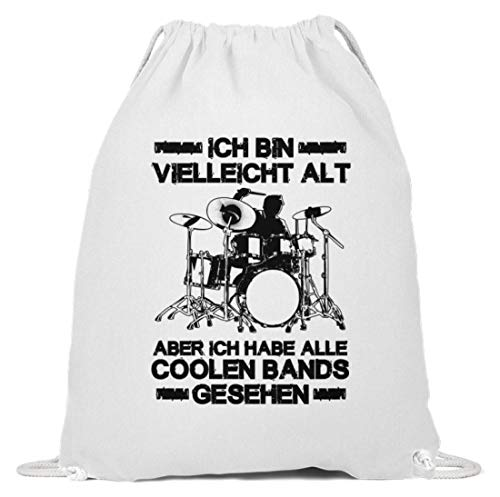 shirt-o-magic Großeltern Oma Opa: Hab die coolen Bands gesehen! - Baumwoll Gymsac -37cm-46cm-Weiß