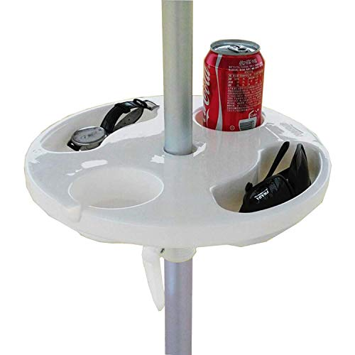 "AMMSUN 13"" Beach Umbrella Table Tray for Beach, Patio, Garden, Swimming Pool with Cup Holders, Snack Compartments White"