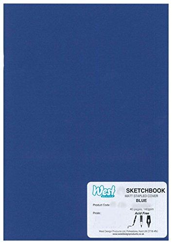 West Design RS261957 1 - Taccuino per schizzi in formato A5, rilegato, 140 g, opaco, per pittura e disegno, blu