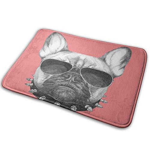 Antideslizante Suave Alfombra de Baño,Retrato de perro de estilo dibujado a mano con collar y gafas de sol sobre fondo rosa,Micro Personalizado Decoración del Hogar Baño Alfombra de Piso,75 x 45 CM