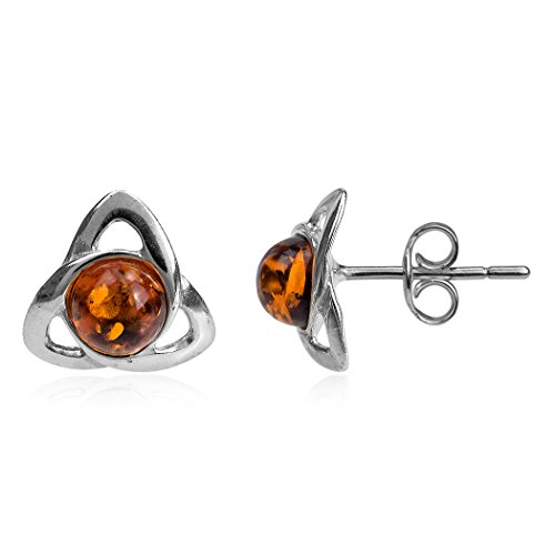 Ian and Valeri Co.Amber Sterling Silver Small Celtic Stud Earrings