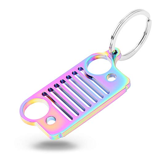 HUSUKU Colorful Stainless Steel Keychain for Grill 3D Metal Key Chain for Wrangler Car Gift (Rainbow)(16 Styles Optional)
