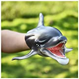 Animal Hand Puppets, Open Movable Mouth, Soft Rubber Puppets Toys Animal Gloves Child Gift for Kids- Perfect for Storytelling, Teaching, Preschool, Education (Dolphin)
