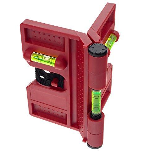 Smartfox Pfosten Winkel Wasserwaage Montagehilfe für Pfostenträger, Bodenhülsen und Metallpfosten magnetisch in rot 135mm inkl. Spannband