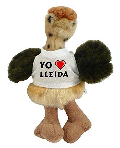 Avestruz personalizado de peluche (juguete) con Amo Lleida en la camiseta (ciudad / asentamiento)