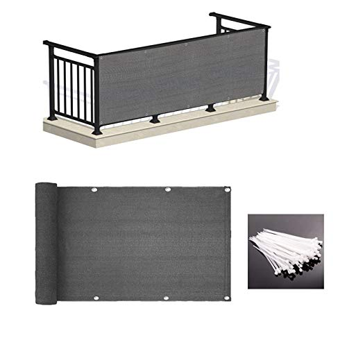 LOVE STORY 3' x 10' Balcony Deck Privacy Screen Cover UV Protection Weather-Resistant 3 FT Height Charcoal Shield 88%