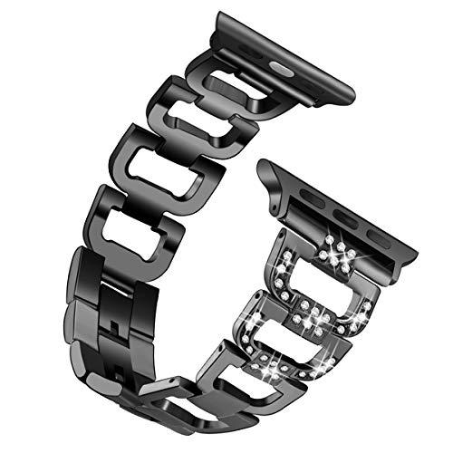 Shxchen Acero Inoxidable Correa Compatible con Apple Watch 38mm 40mm 44mm 42mm, Pulsera de Repuesto Sport Banda Brazalete Transpirable Deportivo para iWatch Series 6/5/4/3/2/1/SE para Mujer y Hombre