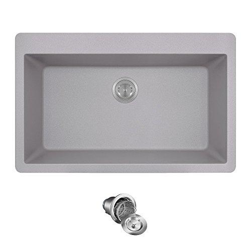 T848 Topmount Large Single Bowl Kitchen Sink, Silver, Basket Strainer