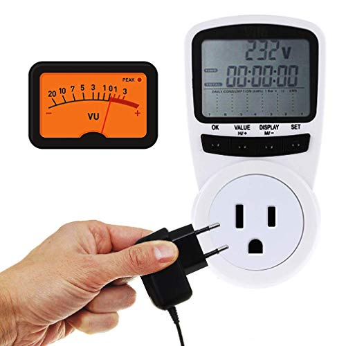 "Vila Power Usage Meter, 5""x3""x2.5"" Electronic Energy Monitor, Saves Money, Digital LCD Display Screen, Measures Power, Energy, Voltage, Amps and More, Overload Protection, Includes 2 AA Batteries"