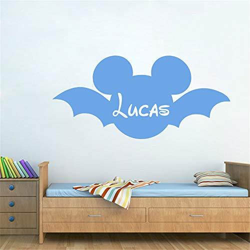 pegatina de pared etiqueta de la pared Mickey Mouse Head Silhouette Custom Name Art para guardería niños dormitorio niños dormitorio