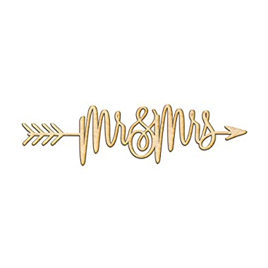 mr&mrs right Arrow Wood Sign Home Decor Wall Art Hanging Rustic Unfinished 24  x 6