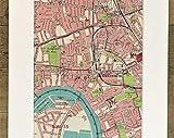 MG global Antique 1930 London Map, West London, Hammersmith, Shepherds Bush, Fulham, montado/mate para enmarcar, decoración del hogar, 42- 18x24 inches Poster