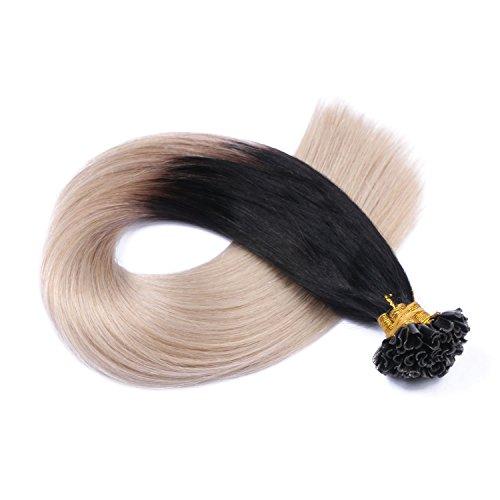 Keratin Bonding - # 1B/GREY OMBRE - 60cm - 200 Strähnen - 0,5g - 100% Remy Echthaar Haarverlängerung U-Tip Extensions sehr hohe Qualität by NOVON Hair Extention