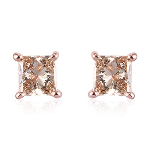 TJC Champagne Diamond I3 Solitaire Stud Earrings for Womens Birthday Gift/Anniversary Gift in 9ct Rose Gold SGL Certified April Birthstone, TCW 0.25ct.