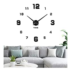 Vangold Large Frameless Wall Clock Sticker DIY Wall Clock Kit Home Decoration for Livingroom Bedroom Kitchen (2-Year Warranty)