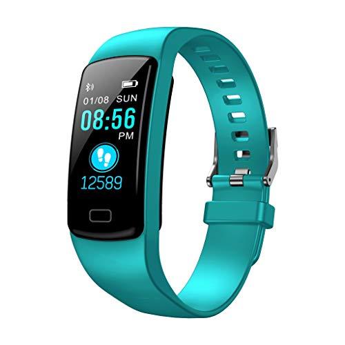 Happy-day, orologio sportivo da uomo e donna, con cardiofrequenzimetro, pressione sanguigna, cronometro, promemoria chiamate, SMS, messaggio push per Facebook, Uomo, Verde menta, ♥