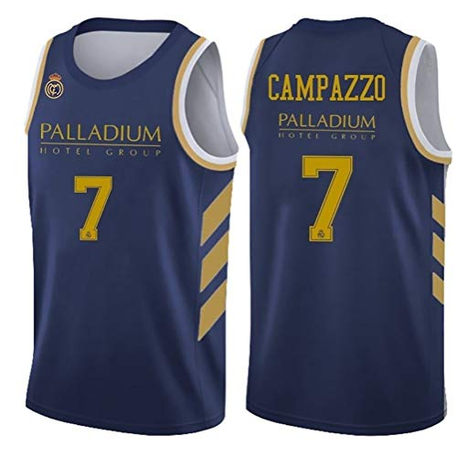 Camiseta sin Mangas Jerseys Alero Hombres del Jersey de Baloncesto del Real Madrid por Facundo Campazzo Rudy Fernández, Sergio Llull (Color : 1, Size : S)
