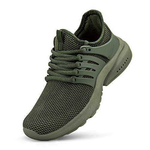 NYZNIA Boys Girls Shoes Tennis Running Lightweight Breathable Sneakers for Big Kids Green Size 3