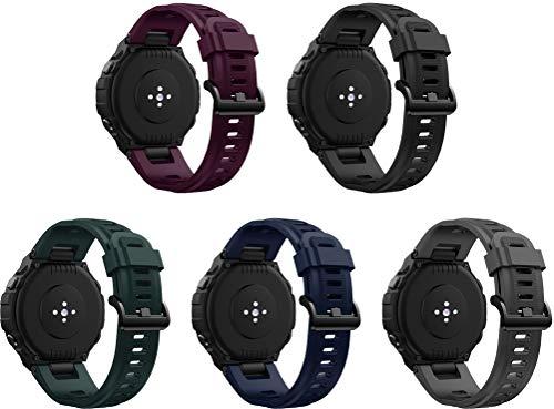 Simpleas Repuesto de Correa de Reloj de Silicona Compatible con Amazfit T-Rex, Caucho Fácil de Abrochar para Relojes y Smartwatch (5PCS H)