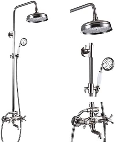 Brushed Nickel Bathtub Shower Faucet System 8 inch Rainfall Showerhead with Handheld Spray Dual product image