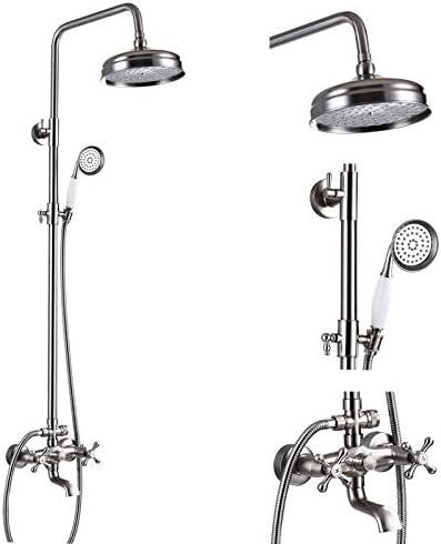 Oil Rubbed Bronze Bathroom Luxury Shower Faucet Rain Mixer 8 Inch Round Head Double Cross Handle Bathroom Bathtub Hand Spray Tub Tap Wall Mount Bathroom Fixtures
