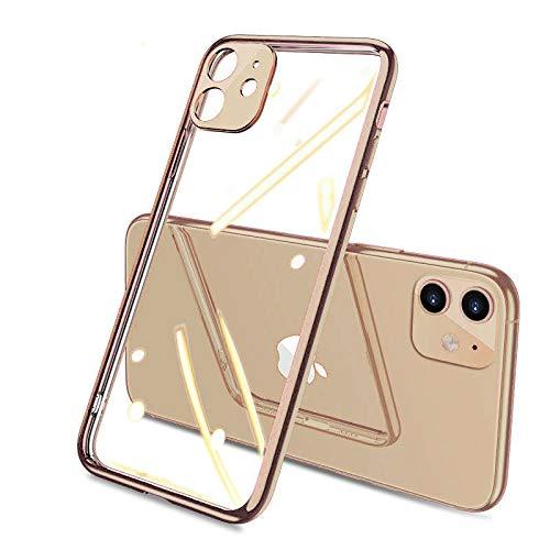 Coque Compatible pour iPhone 11 pro max Souple TPU Gel Silicone Crystal Transparente Fleur Motif Ultra Mince Anti Choc Protection Étui Housse iPhone 11 pro max (or)