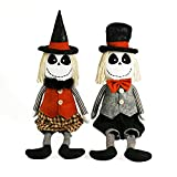 Ogrmar 2 Pack 29.5 Inch Halloween Skeleton Plush Doll Handmade Mr and Mrs Stuffed Skeleton Doll Decoration Kit with Black Hat and Bow Tie for Halloween Home Party Table Ornaments