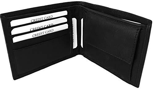 Lundholm leren portemonnee heren leer RFID zwart compact model billfold zwart cadeau voor man pasjeshouder mannen leer zwart RFID anti skim heren portemonnee zwart