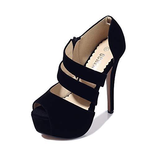 Women's Peep Toe Platform High Heel Sandal Pumps Velvet Black Tag 37-235/US 6.5