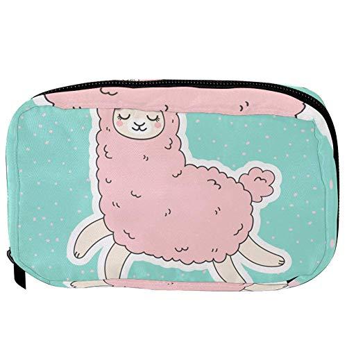 TIZORAX Cosmetic Bags Pink Unicorn Llama Handy Toiletry Travel Bag Organizer Makeup Pouch for Women Girls