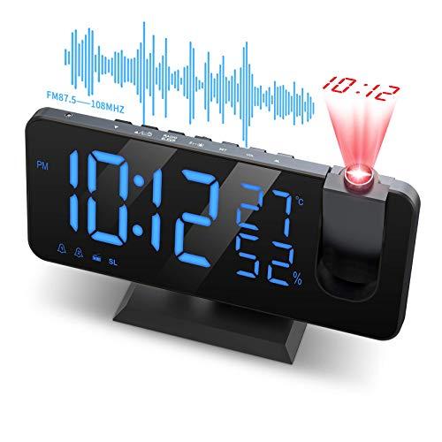 JIGA Despertador Proyector, con Función de Radio FM, Pantalla de Espejo LED de 7', Brillo de 4 Niveles, Carga USB, Proyección nítida y fácil de Usar, Utilizado en la Oficina en casa, Dormitorio