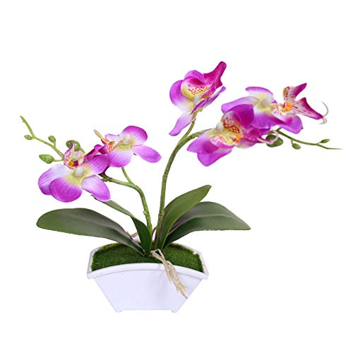 Eamoney Artificial Flowers Flocked Fake Plants, Butterfly Orchid Bonsai Fake Flower with Pot Home Tablefor Home Wedding Christmas Party Office Indoor Table- Purple