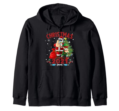 Santa y Elfo Vacunados - Nueva Navidad Sudadera con Capucha