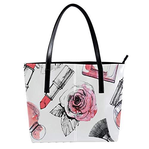 Perfume con lápiz labial y cepillo de maquillaje Bolsos de las mujeres, cuero suave mango bolsa bolsa bolsa bolsa bolsa bolsa de viaje de trabajo