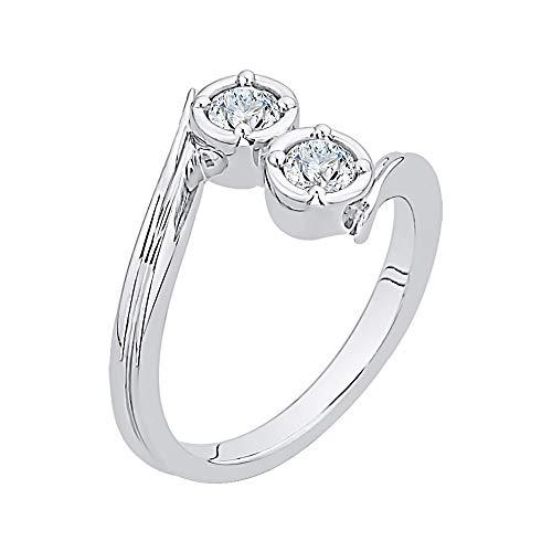 KATARINA Anillo de moda de diamante en plata de ley (1/5 cttw, J-K, SI2-I1) (tamaño-6.5)
