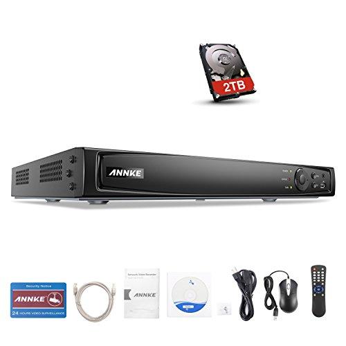 ANNKE 16CH 4K PoE NVR - Sistema de videovigilancia con disco duro de 2 TB, videovigilancia, 8 MP, vídeo en red para cámara IP, para interiores y exteriores