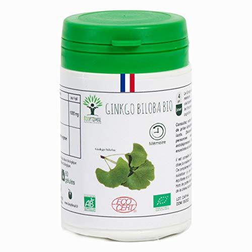 Ginkgo Biloba bio | 60 gélules | Complément alimentaire | Mémoire - Démence - Vertige | Bioptimal - nutrition naturelle | Fabriqué en France | Certifié par Ecocert | Satisfait ou Remboursé 30 jours
