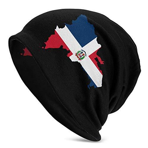 Gorro de Lana para Hombre con Bandera de Mapa de República Dominicana, Gorro de Punto, Sombreros Suaves y cálidos, Color Negro