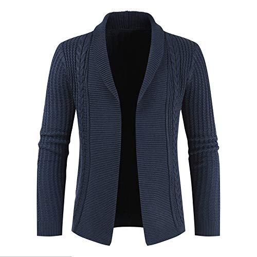 Chaqueta de suéter de Solapa para Hombre Color sólido Banco Mundial Simple Casual Cómodo Slim Fit Abrigo de Punto Trenzado de Manga Larga L
