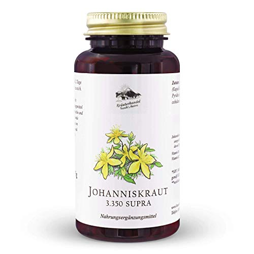 KRÄUTERHANDEL SANKT ANTON® - Johanniskraut Kapseln - Hochdosiert - Hypericin - Vitamin B6 und B12 - Deutsche Premium Qualität (150 Kapseln)