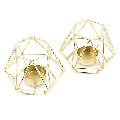 MoYouno Juego de 2 Piezas de Soporte de luz de té de Metal, candelabro Decorativo de Hierro Hueco, Adorno para el hogar para Sala de Estar, Boda, Fiesta (Gold)