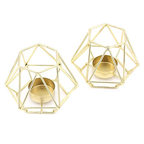 MoYouno 2 Stück Metall Teelichthalter Set, Hohl Eisen Dekorative Kerzenlaternen Halter, Home Ornament für Wohnzimmer, Hochzeit, Party (Gold)