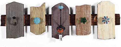 YLCJ Wandkapstok met garderobe van hout en haken met 5 haken van metaal voor hal