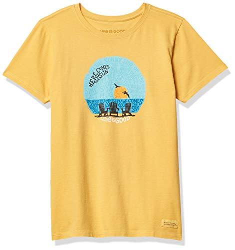 Life Is Good Damen Crusher T-Shirt Sunset Chairs, Damen, Crusher T-Shirt Sunset Chairs, Stühle Baja Gelb, Medium