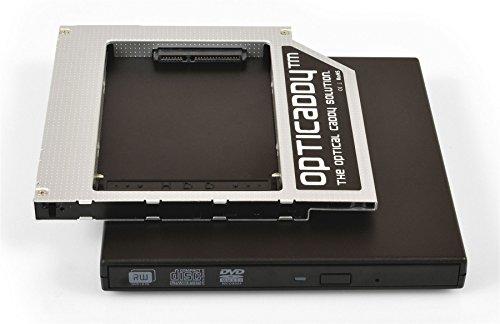 Opticaddy© SATA-3 HDD/SSD Universal 9.5mm SATA zu SATA Caddy Adapter KIT mit Externe USB-Gehäuse für optisches Laufwerk OptiSpeed Technologie (original Festplattenrahmen, Einbaurahmen, Adapter-Set)