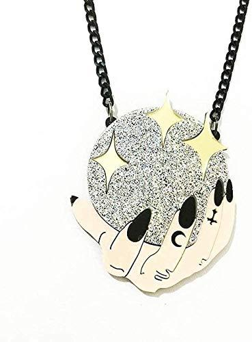 NC188 Collar Corte Acrílico Creativo Bola de Cristal Mágica Collar Pun Colgante Collar de Acrílico Moda Hombres Accesorios de Acrílico Collar Colgante Cadena para Mujeres Hombres