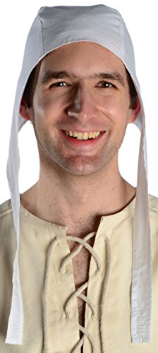 HEMAD Mens Medieval Coif Pure Cotton L White