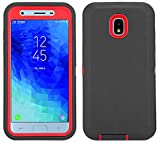 Case for Galaxy J3 2018 with Built-in Screen Protector Heavy Duty Shockproof Defender Armor Protective Cover for Samsung J3 2018/ Galaxy Amp Prime 3/ J3 Achieve/ J3 Star/ J3V 2018 (Black/red)