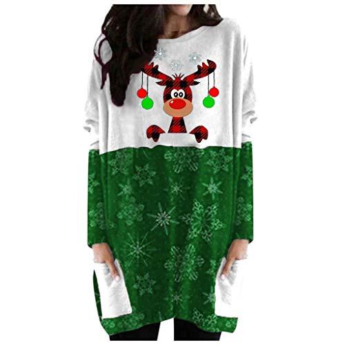 Onsoyours Weihnachtspullover Damen Weihnachten Langarm Casual Kleid Rundhals Weihnachtspulli Sweater Bekleidung Lose Große Größen Mit Wasserfall E Grün 3XL